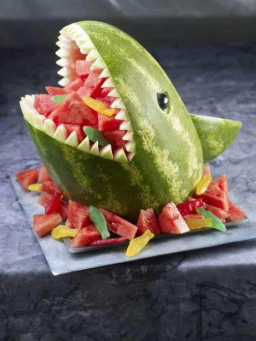 Melon shark - why am I obsessed with making food look like other things? My kids will love this...even Maya