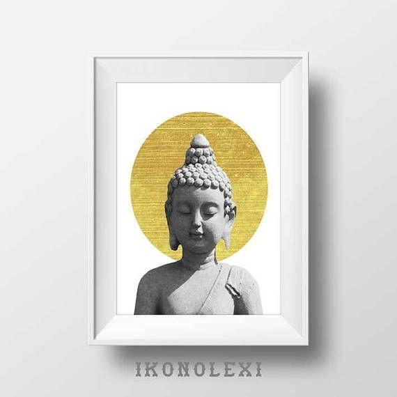 Golden buddha art, wall prints, little buddha, buddha wall art, the ...