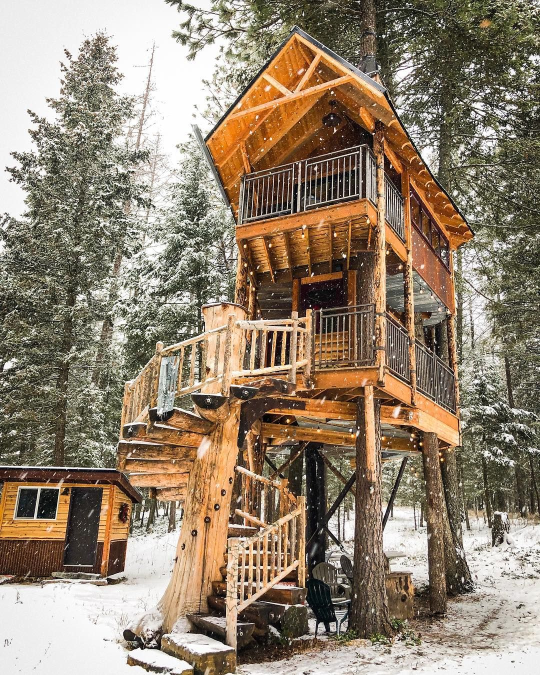 "Montana Treehouse Retreat on Instagram: ""Snow! Just in time"
