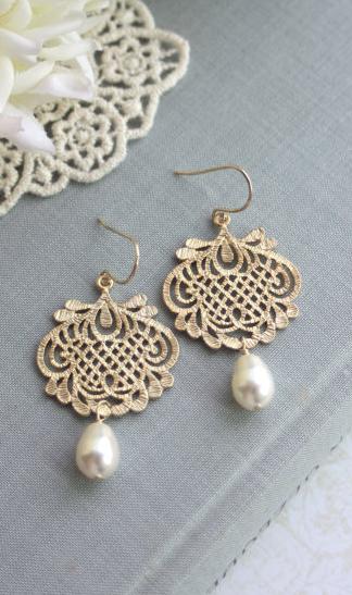 Photo of Wedding Gold Filigree Gold Earrings, Ivory Pearls Gold Earrings. Bridal Earrings Wedding Gift. Bridesmaids Gift Vintage Beach Resort Wedding