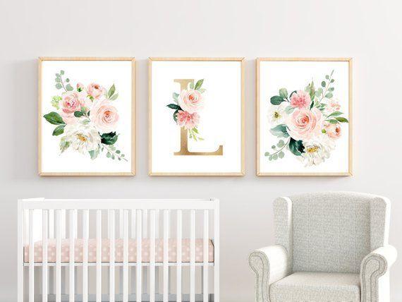 Nursery Art Prints Girl Watercolor Floral Blush Elegant Nursery Art Nursery Wall Art Set Girl Nursery Decor Pale Pink Monogram Art 16x20
