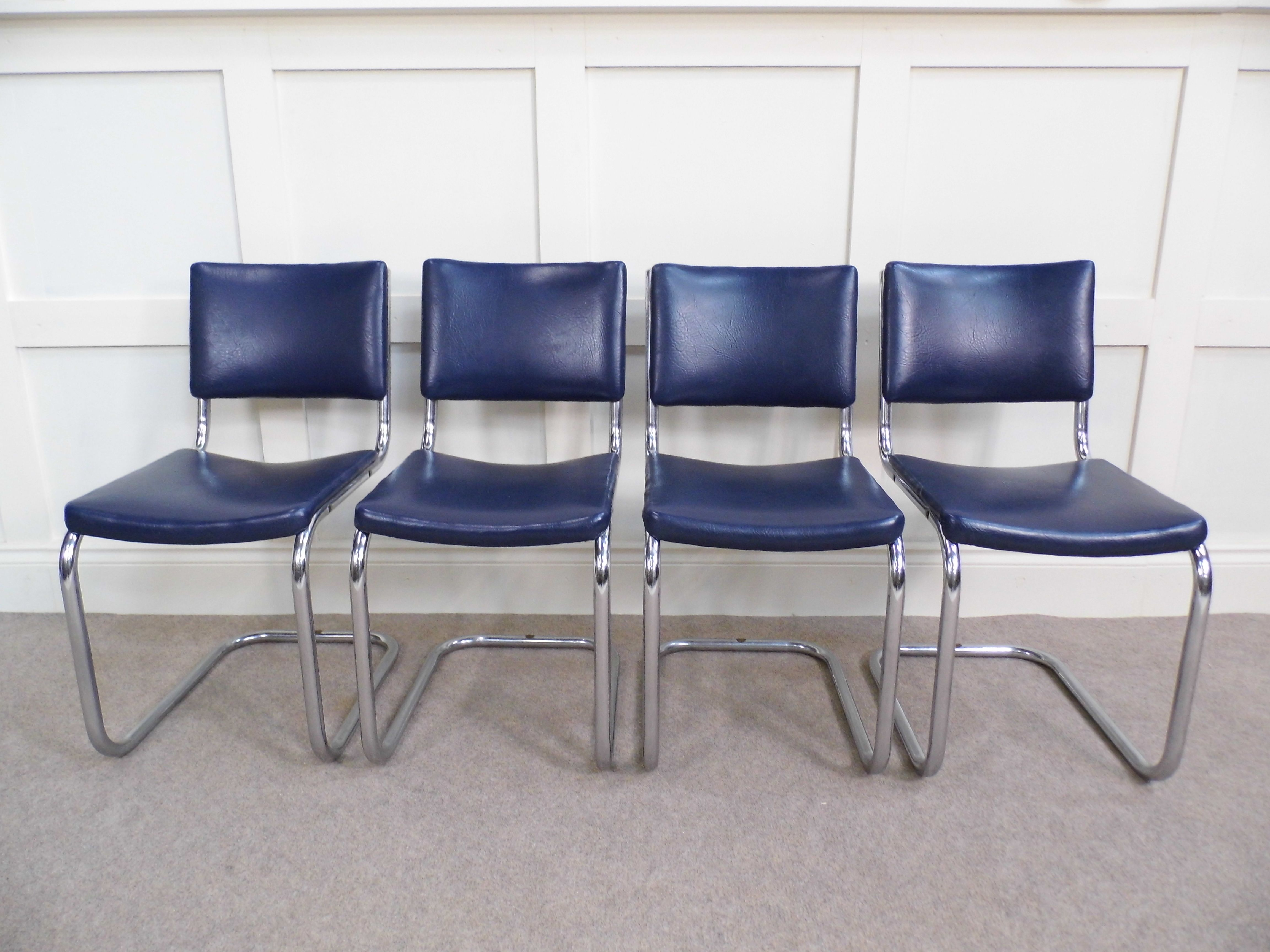 Chrome Vintage Bauhaus Pel Dining Chairs 1930s In Blue