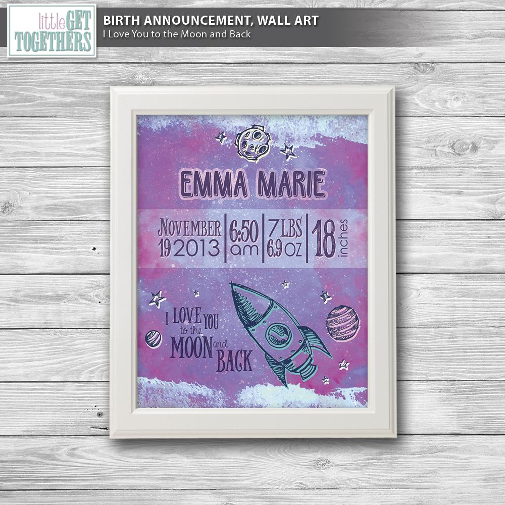 Birth announcement wall art i love you to the moon and back