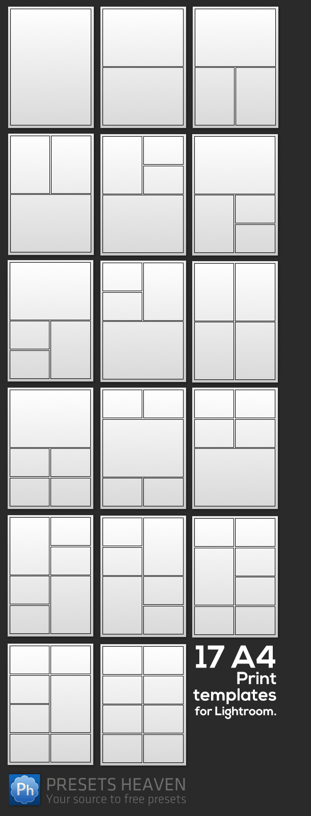 Check out these 17 a4 print templates for lightroom that i made earlier this week photoshop for Lightroom collage templates