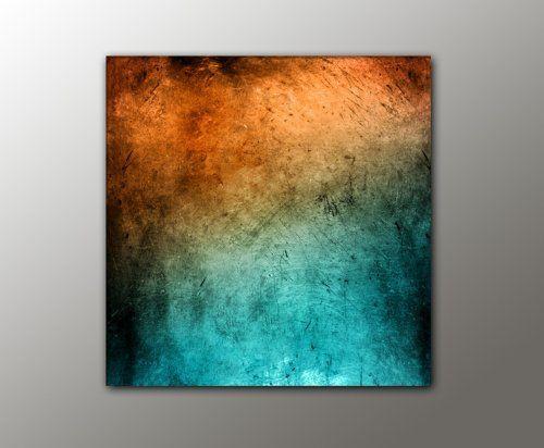 Charmant Türkis Orange + (Vintage_Style_13 100x100cm) Abstraktes Bild