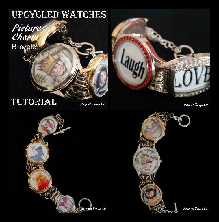 DIY Tutorial on how to make a picture charm bracelet from old broken watches.…