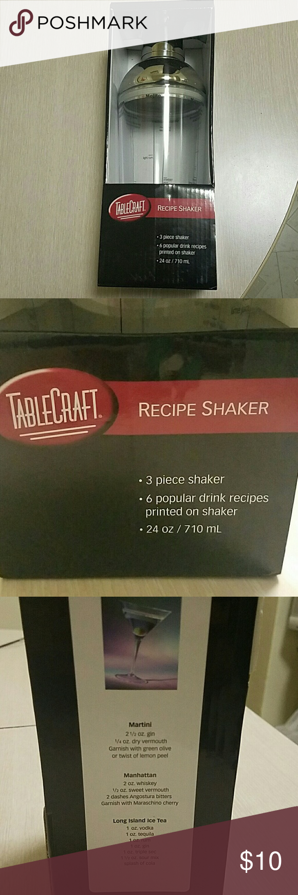 REDUCED PRICE! Cocktail shaker by Table Craft New, never used or opened 24 Oz shaker with 6 popular drink recipes printed on it. Will make nice gift this holiday season. Table craft  Other