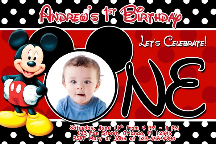 Mickey Mouse 1st Birthday Invitation Template For Boys