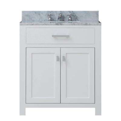 Water Creation Madison 30 In Vanity In Modern White With Marble