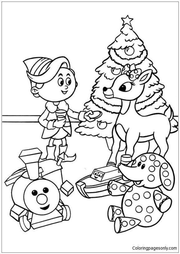 Rudolph With Children In Christmas Day Coloring Page Rudolph Coloring Pages Christmas Coloring Sheets Coloring Books