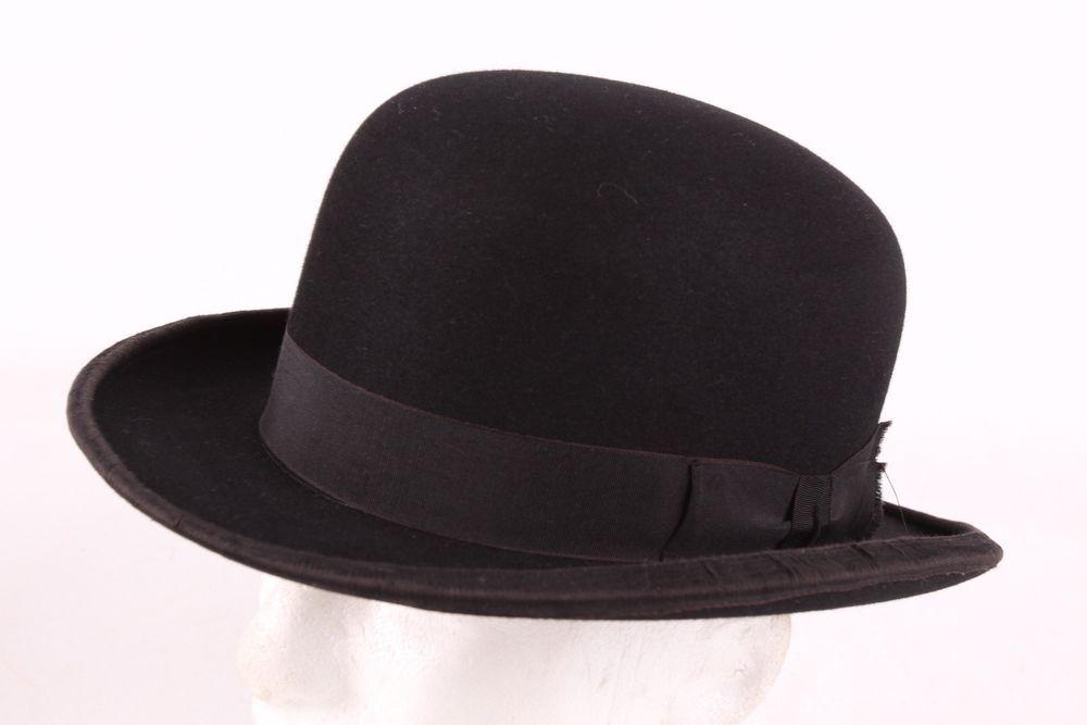 VTG 20S CHESTERFIELD BLACK FELT BOWLER TOP HAT MENS SIZE 7  chesterfield   Bowler 5f4e21d9315