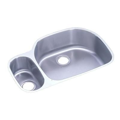Elkay Lustertone Undermount Stainless Steel 32 In Double Bowl Kitchen Sink With 10 In Bowl Eluh322110l The Home Depot Double Bowl Kitchen Sink Double Bowl Undermount Sink Sink