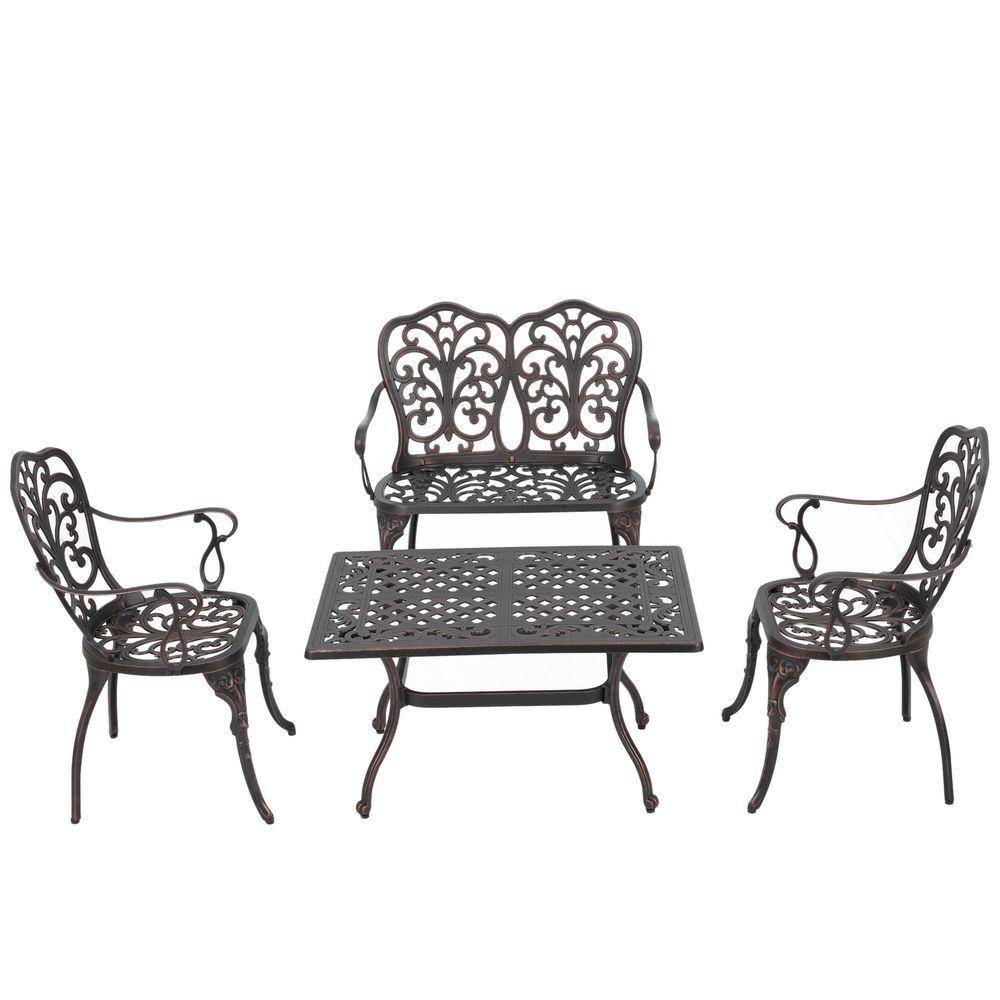 Garden 4 Piece Aluminum Conversation Set Outdoor Patio Table Chairs ...