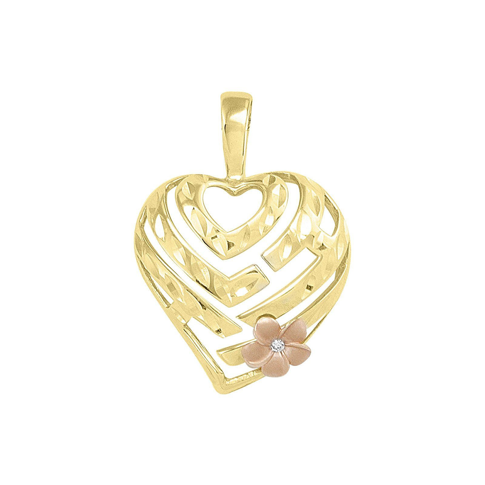 Aloha Heart Pendant with Diamond in K Yellow u Rose Gold mm