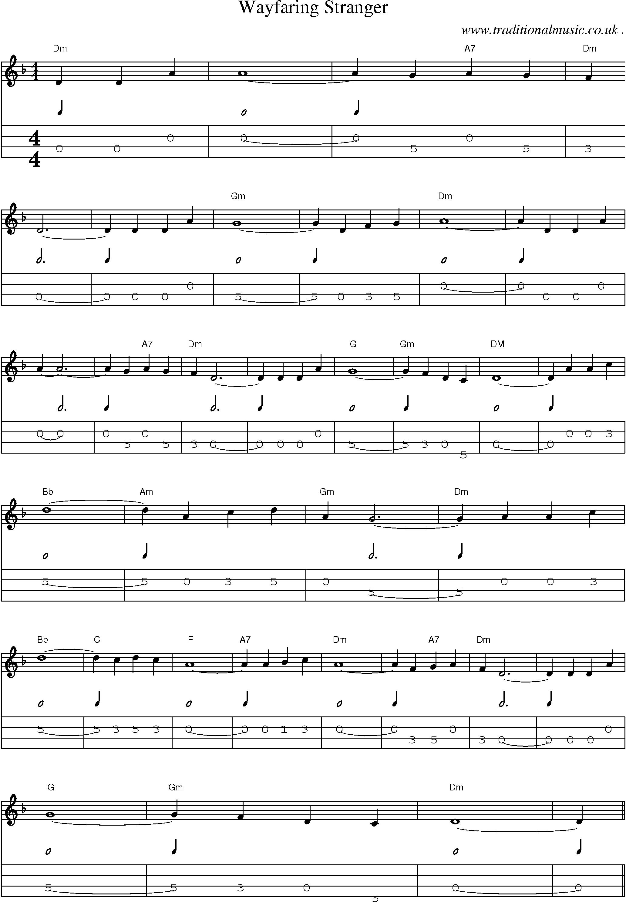 Music Score And Guitar Tabs For Wayfaring Stranger Tabs