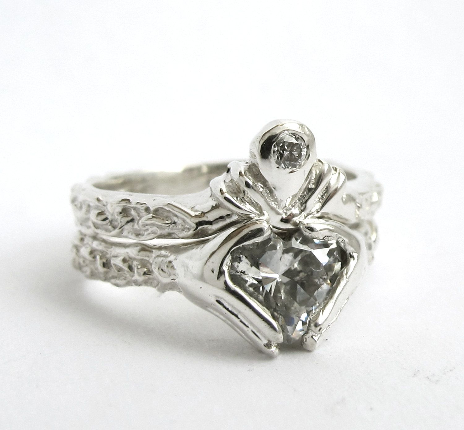 Claddagh Wedding Set Personalized Choose your Stone Sterling