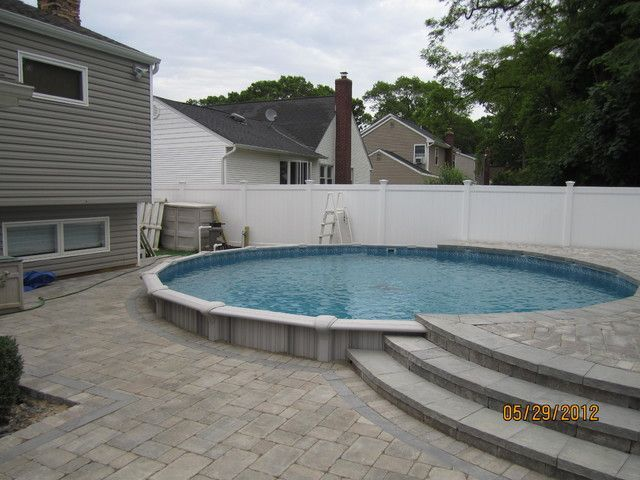 Splendid Semi Inground Pools With Pavers For Round Swimming Pool