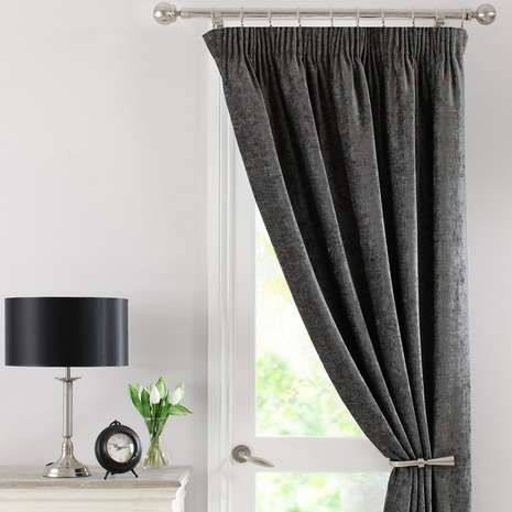 Grey Chenille Thermal Pencil Pleat Door Curtain Home Pinterest