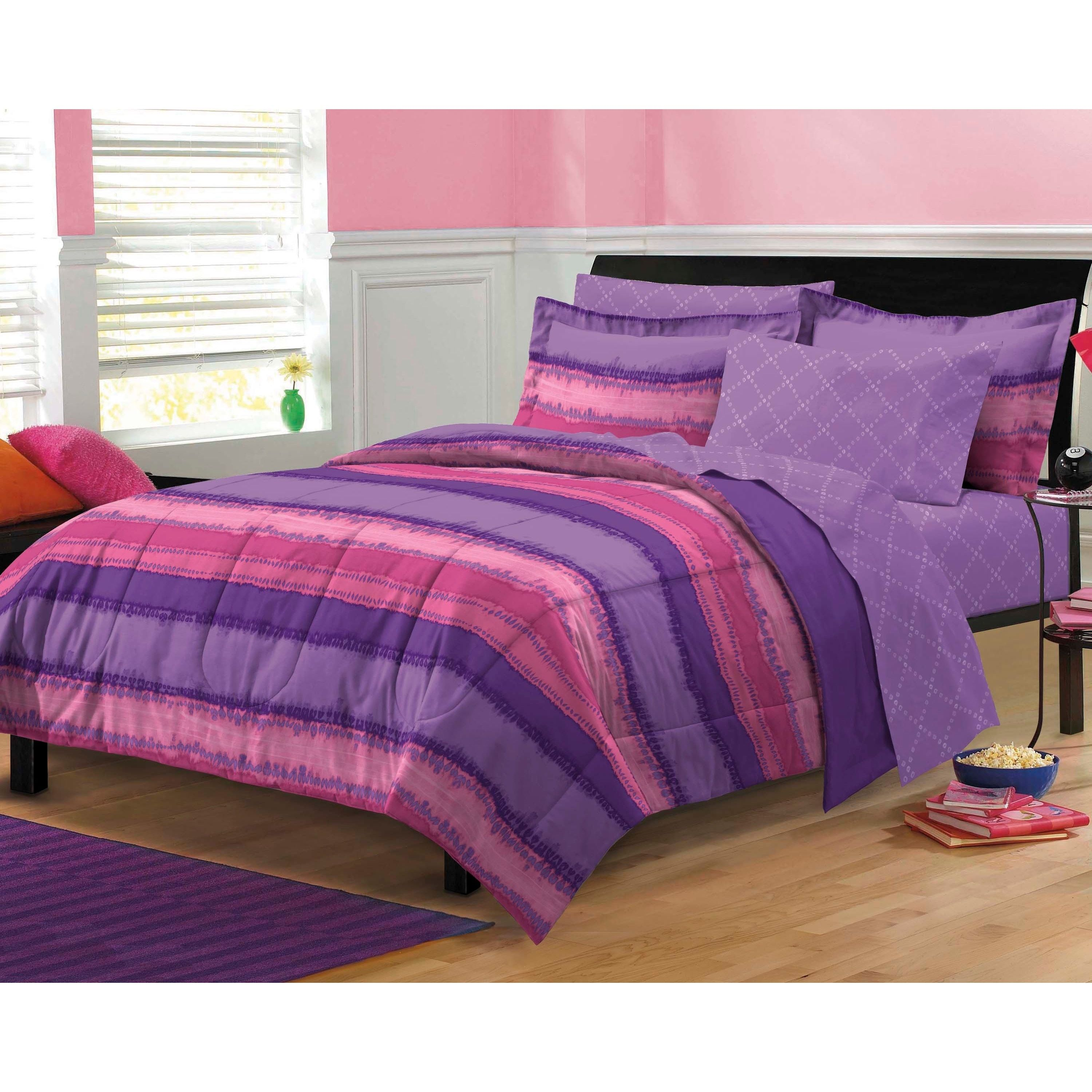 Tie Dye Purple Pink 7 Piece Bed In A Bag With Sheet Set