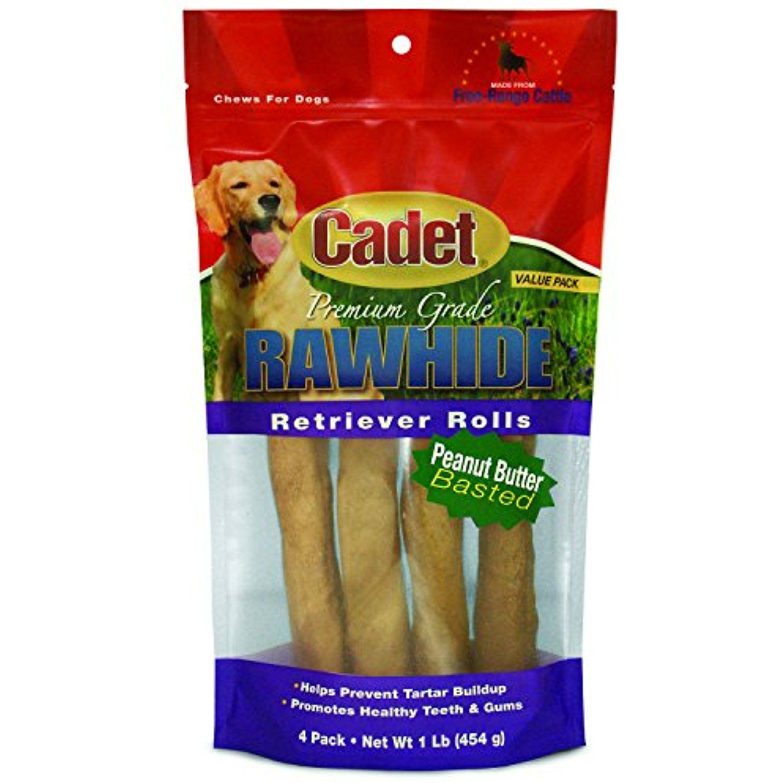 Cadet rawhide dog treat retrievers peanut butter basted