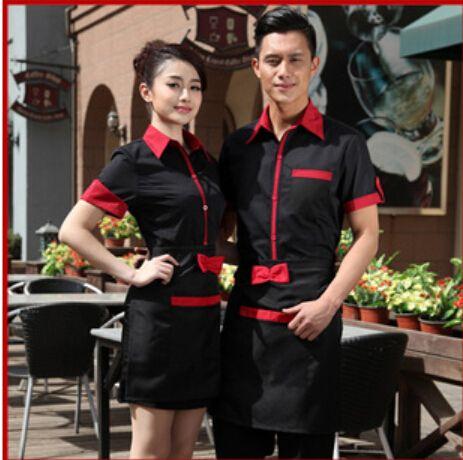 d3cf279857 Barato Café restaurante garçom roupas de trabalho uniformes uniformes  uniforme da recepção do Hotel do Hotel