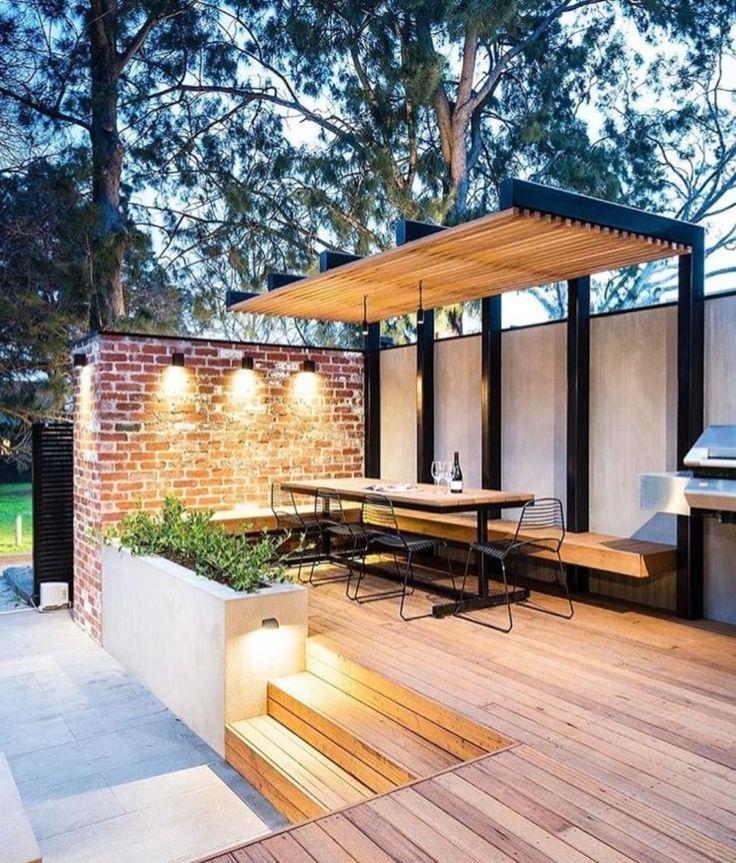 45 Terrasse Avec Lumiere De Decoration Que Vous Devez Essayer Dans Votre Maison Arka Bahce Peyzaj Duzenlemesi Bahce Teras Dekoru Veranda Tasarimi