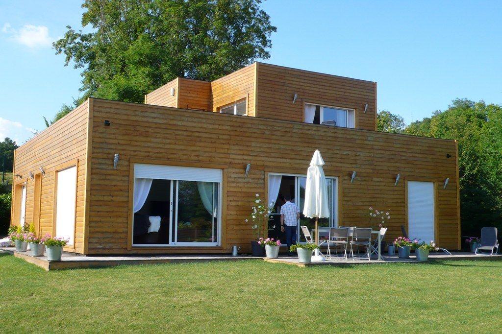 Maison bois cubique - toit-terrasse #maisonbois Poirot Constructions