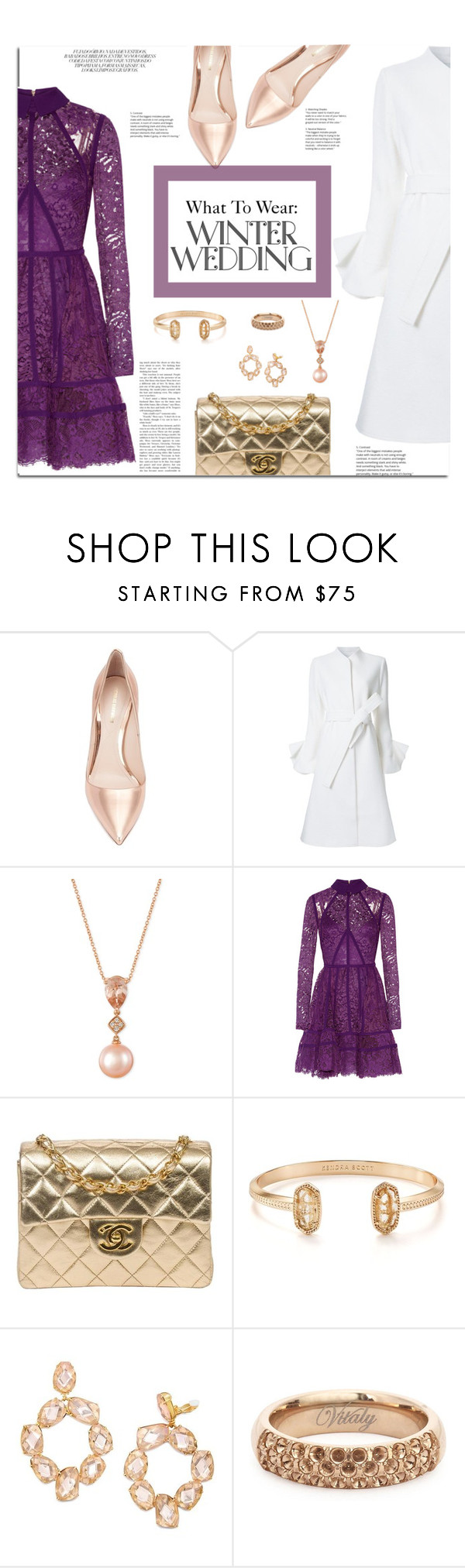 """""""What To Wear: Winter Wedding"""" by jafashions ❤ liked on Polyvore featuring Nicholas Kirkwood, Goen.J, LE VIAN, Elie Saab, Chanel, Kendra Scott, Tory Burch and Vitaly"""