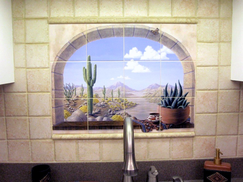 southwest faux window tile mural (With images) Window
