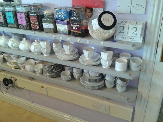 Shelves along counter