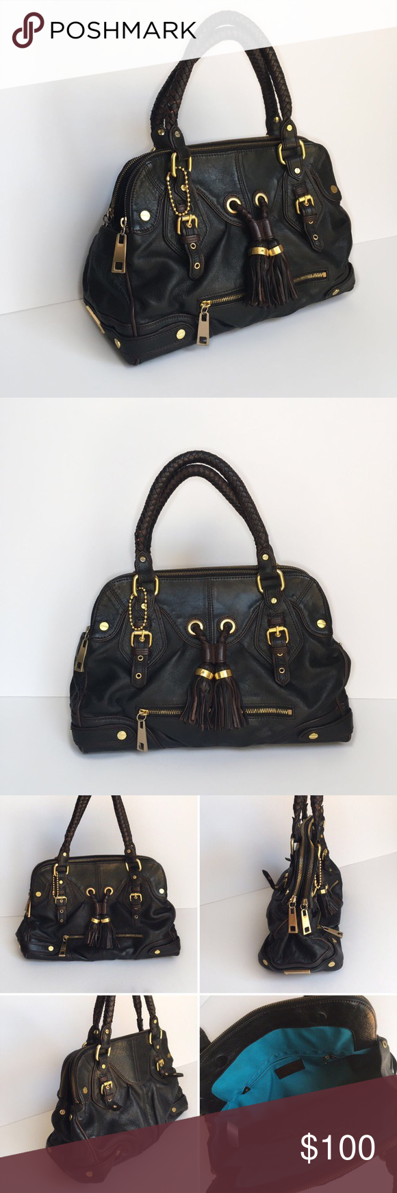 Steven by Steve Madden Satchel Black leather handbag with brown trim and gold hardware. 2 zipper pocket, 2 open pockets, 1 small zipper pocket.  •Dimension: 10.5 x 13.5 x 5.5 in  •Handle drop: 15.5 in *Please note defect on 4th collage (tiny slit, wear and tear marks, scratches on hardwares) Steven by Steve Madden Bags Satchels