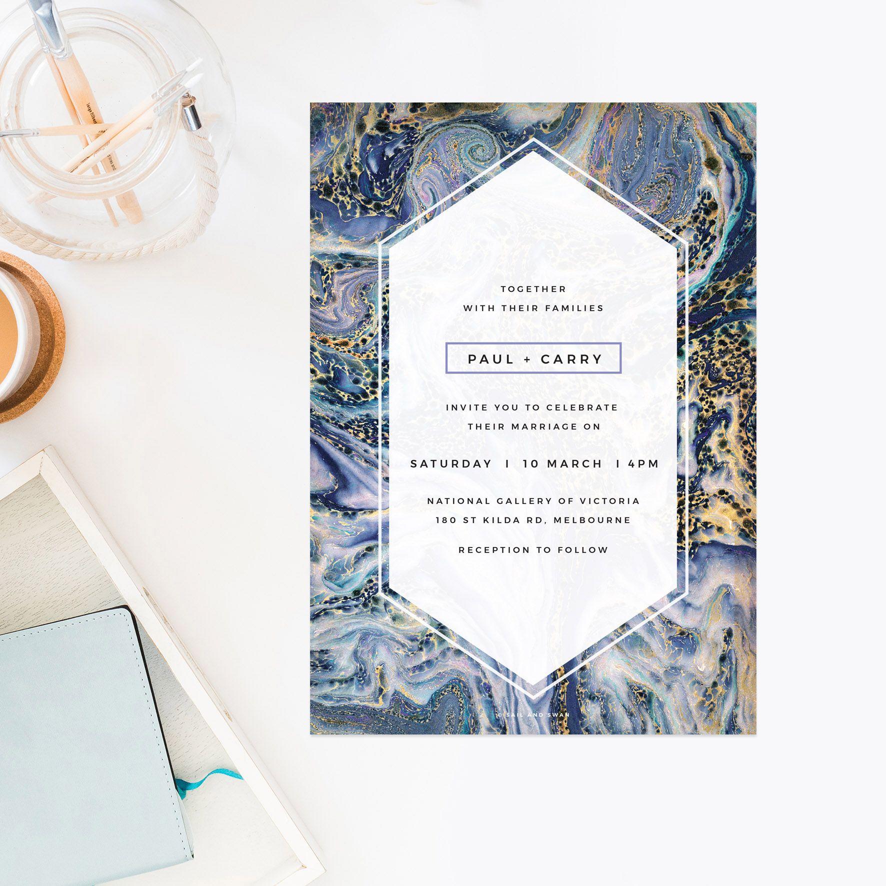 Marble Green Leaves Modern Botanical Wedding Invitations - Natural ...