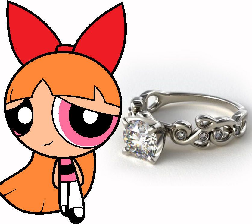 925 Sterling silver CZ Round solitaire Studded Cartoon inspired engagement ring #Solitaire