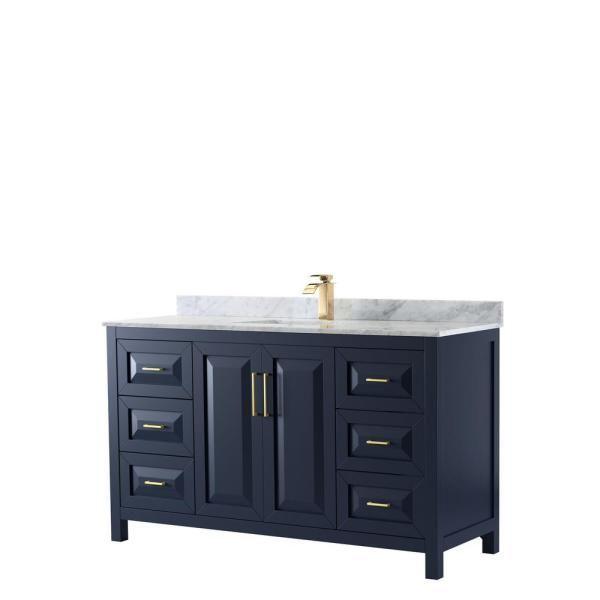 Wyndham Collection Daria 60 In Single Bathroom Vanity In Dark Blue With Marble Vanity Top In White Carra Marble Vanity Tops Single Bathroom Vanity Square Sink