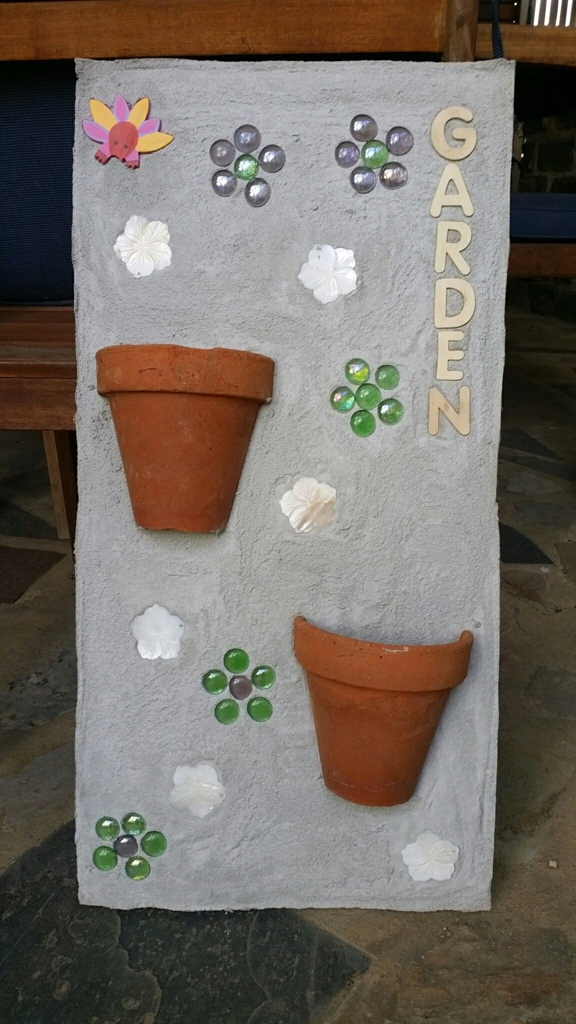 Decorative Wall Planter Using Concrete, Two Halves Of A Terracotta