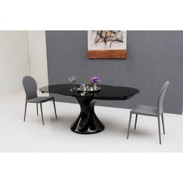 Savor Modern Round Extend Able Black Lacquer Dining Table Modern Dining Furniture Lacquer Dining Table Round Extendable Dining Table