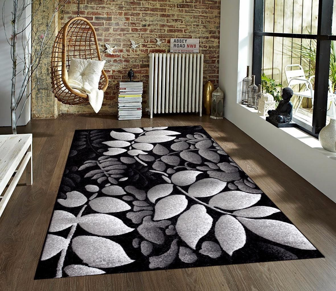 Gray White Black 52x72 Area Rug Leaves Carpet Large New Rugs On