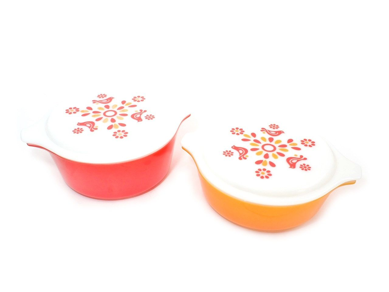 Pyrex Friendship Covered Casserole Set, Pyrex Orange and Red, 1970s ...