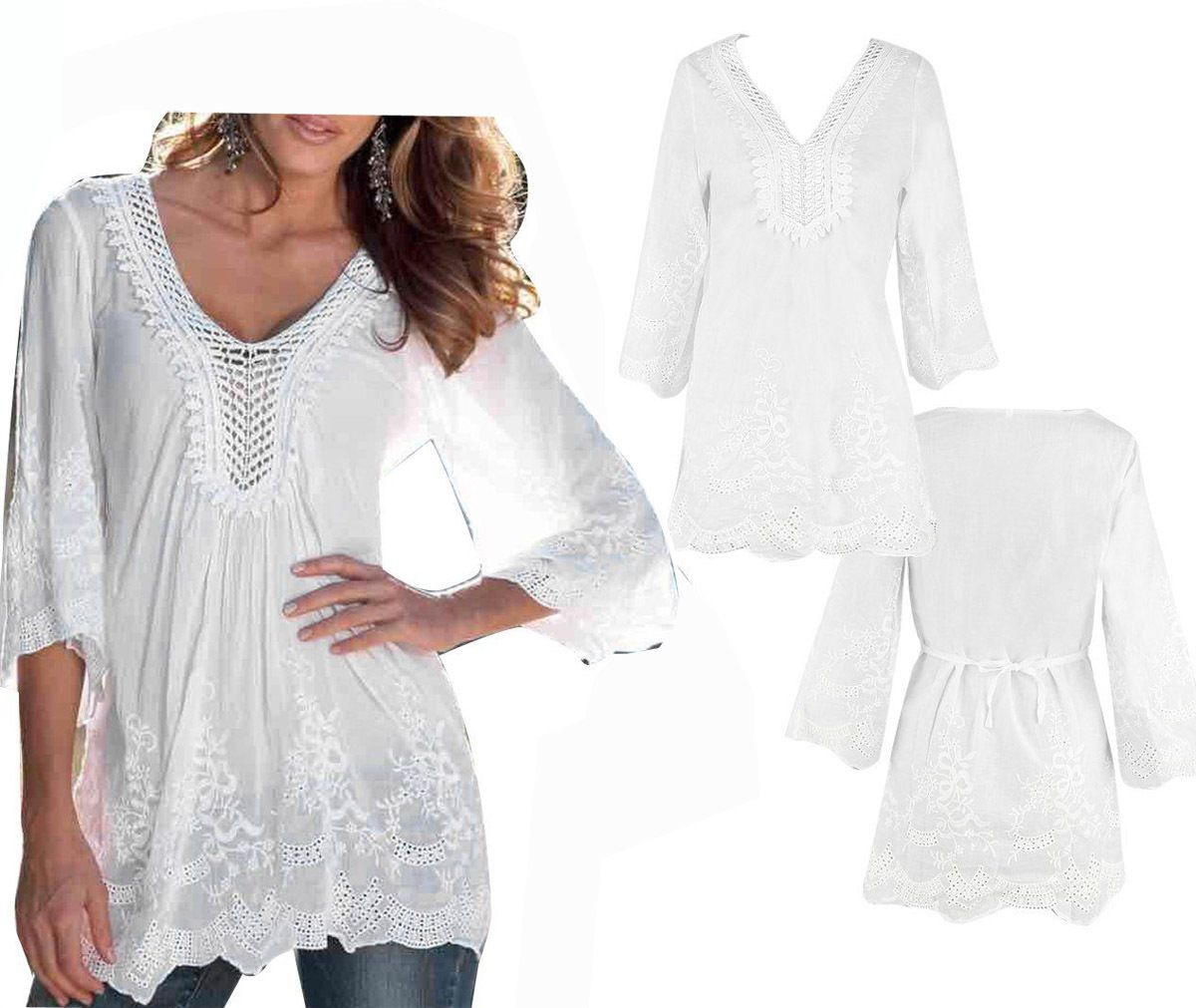 Nice fashion womens long sleeve shirt casual lace blouse loose