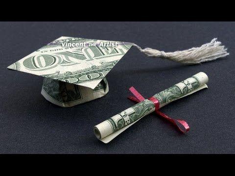 09d50d2a1 DIY How to Fold $2 Money Origami Graduation Cap & Diploma - Dollar Origami  - Graduation Gift Idea - YouTube