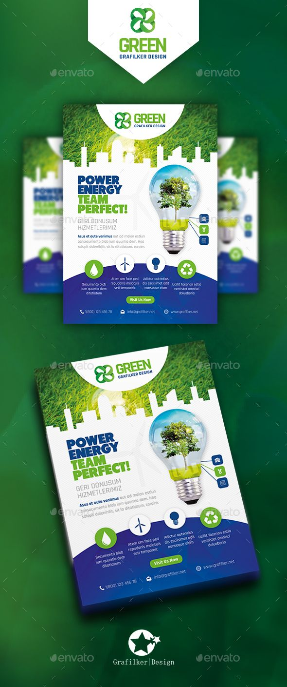Green Energy Flyer Template PSD, InDesign INDD | diagramacion ...