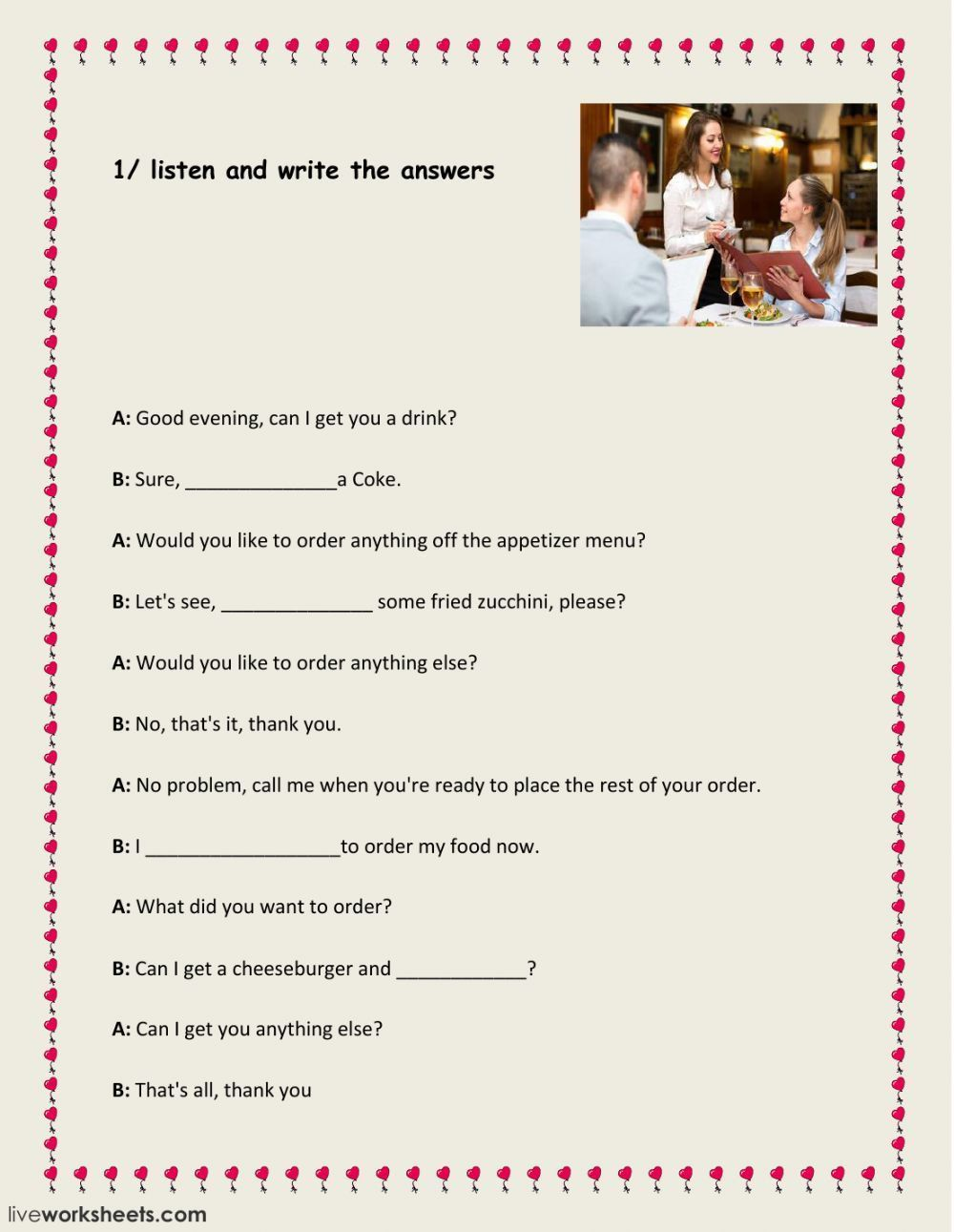 Dialogue Worksheet 5th Grade At The Restaurant Interactive And Able Worksheet In 2020 1st Grade Writing Worksheets Educational Worksheets Worksheets