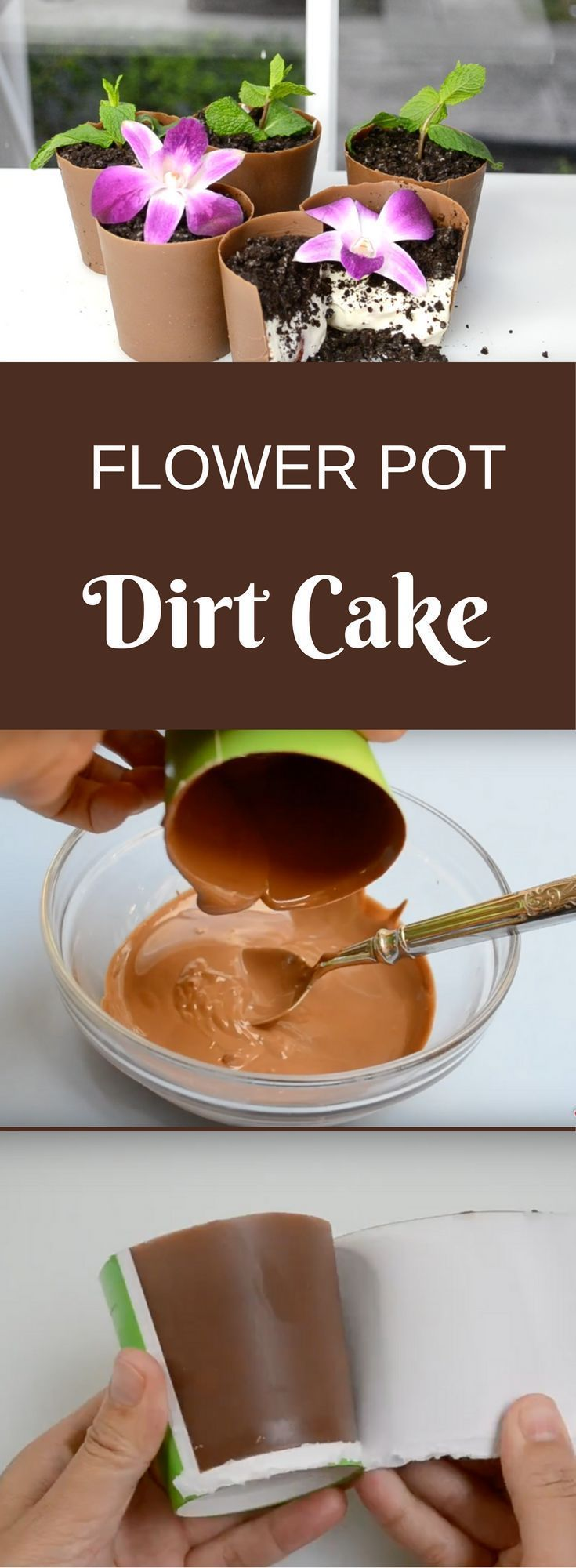 This No Bake Flower Pot Dirt Cake is easy to make and can