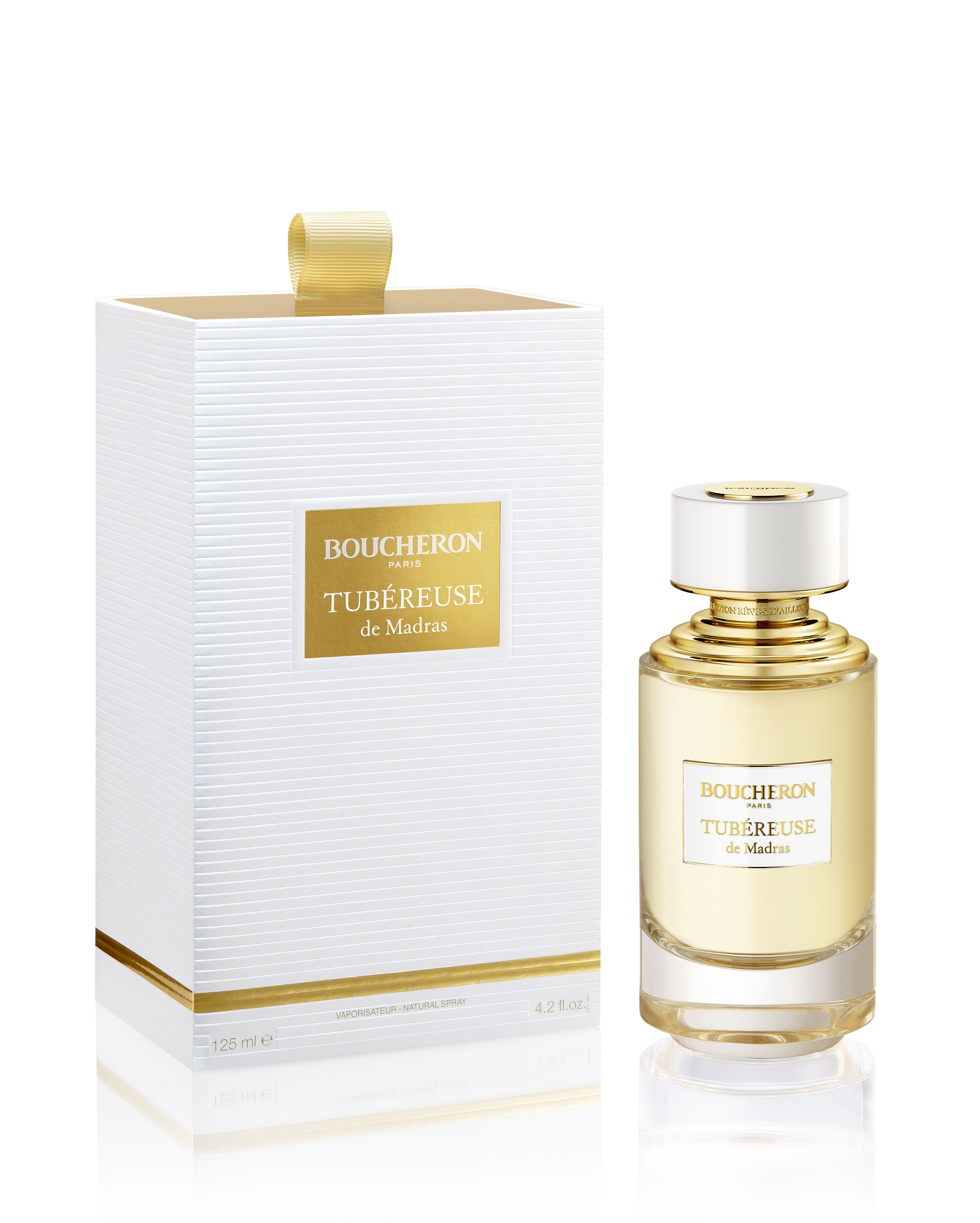 0911c2fefa6 La collection Boucheron, Tubéreuse de Madras. The fragrance is enhanced by  a beautiful box in gold and white, the sleeve of which is embellished with  a ...