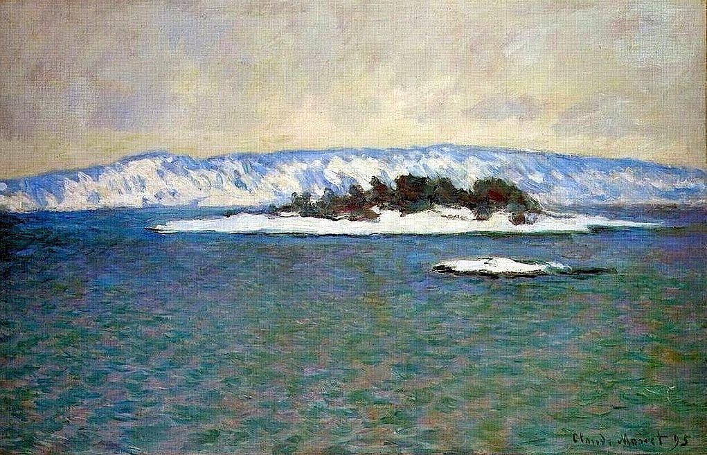 (Observar agua. Tem um hint de vermelho) Claude Monet The Christiania fjord 1895