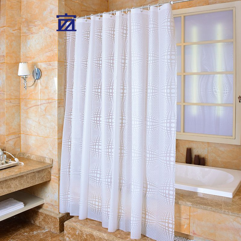 Peva Shower Curtain Solid Color Fabric Plain White Circles