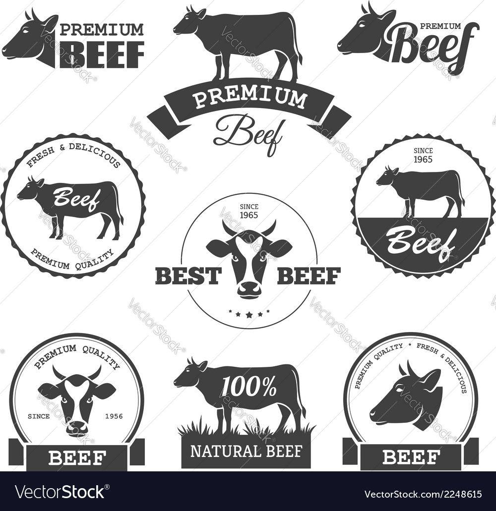 Beef labels Royalty Free Vector Image VectorStock Cow
