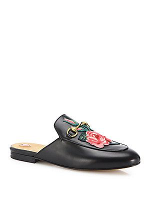 Gucci Princetown Floral Leather Loafer Slides  b79a4cc1c