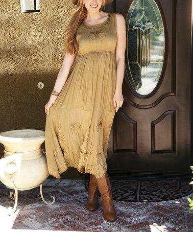 Another great find on #zulily! Khaki Embroidered Handkerchief Dress #zulilyfinds