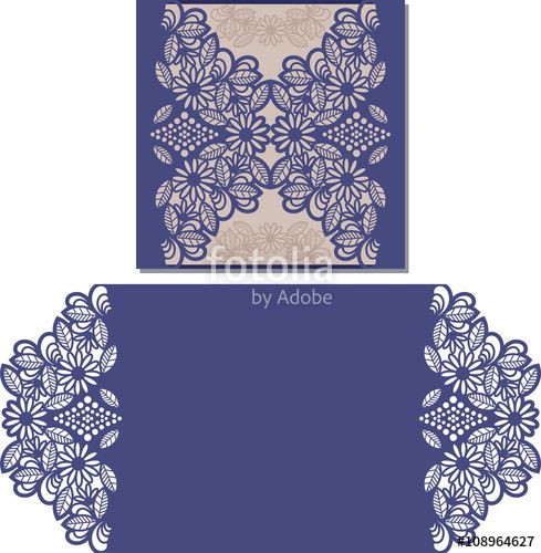 vector paper cut out card laser cut pattern for With laser cut wedding invitations vector free